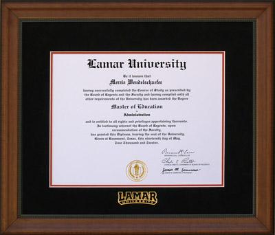 Premium Wood Glossy Prestige Mahogany with Gold Accents Lamar University Diploma Frame Lithograph University Diploma Frame Single Black Mat